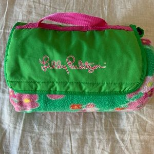 Lilly Pulitzer vinyl lined roll up picnic blanket